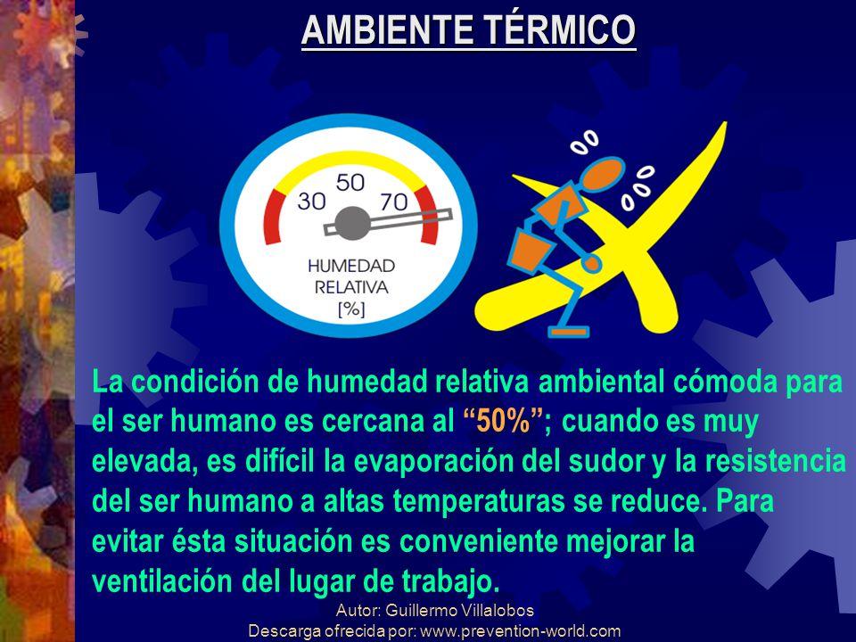 AMBIENTE TÉRMICO La condición de humedad relativa ambiental cómoda para. el ser humano es cercana al 50% ; cuando es muy.