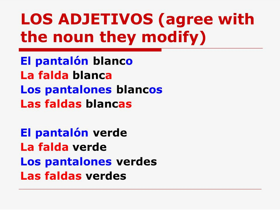 LOS ADJETIVOS (agree with the noun they modify)