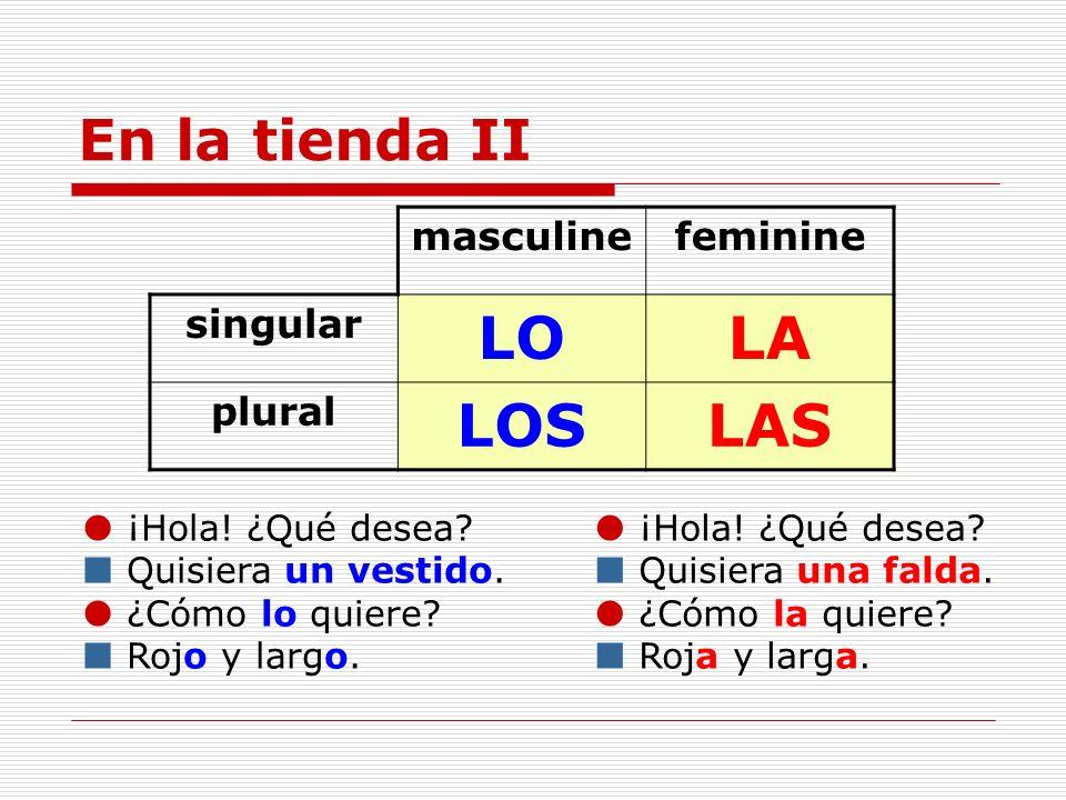 LO LA LOS LAS En la tienda II masculine feminine singular plural