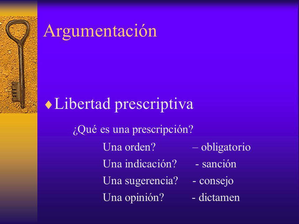 Argumentación Libertad prescriptiva ¿Qué es una prescripción