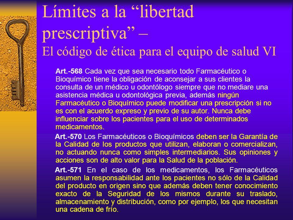 Límites a la libertad prescriptiva – El código de ética para el equipo de salud VI
