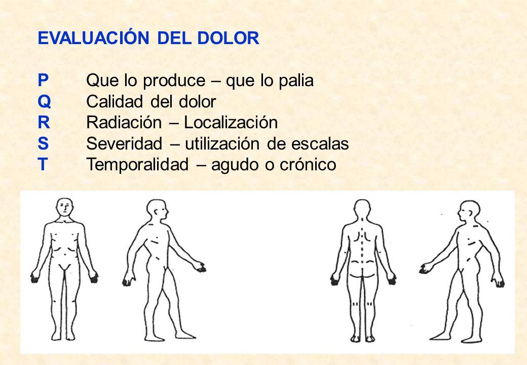 EVALUACIÓN DEL DOLOR P Que lo produce – que lo palia. Q Calidad del dolor. R Radiación – Localización.