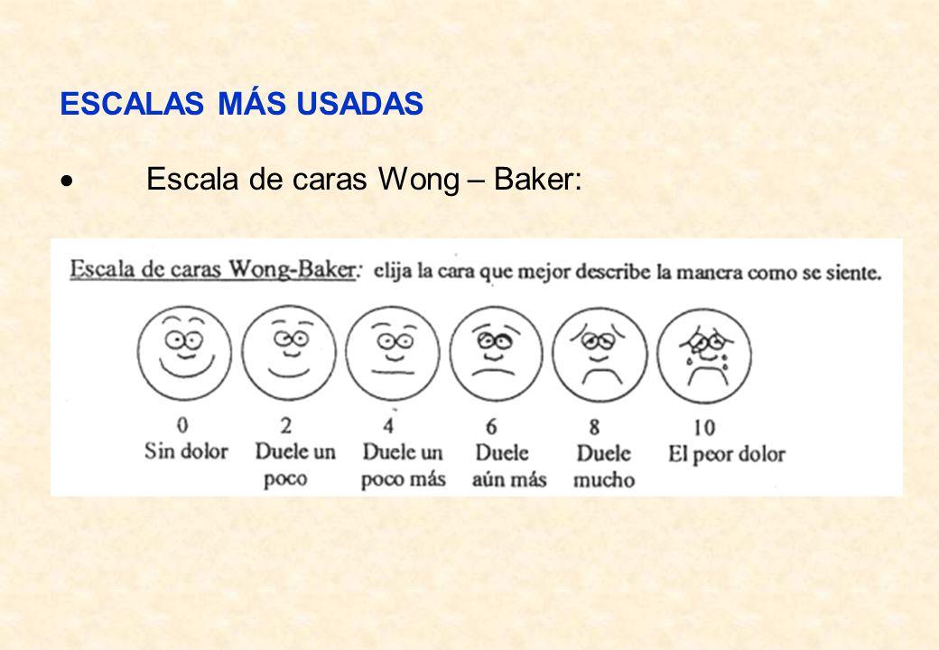 ESCALAS MÁS USADAS · Escala de caras Wong – Baker: