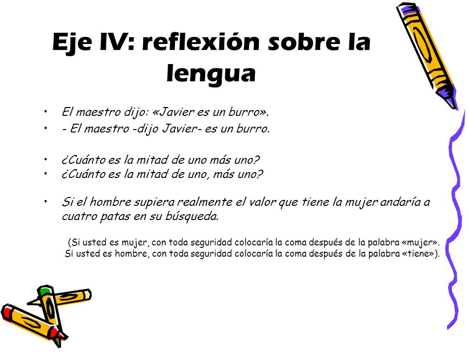 Eje IV: reflexión sobre la lengua