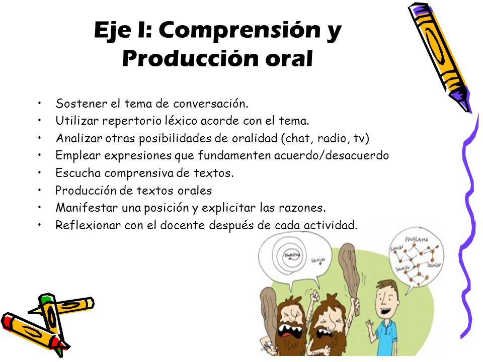 Eje I: Comprensión y Producción oral