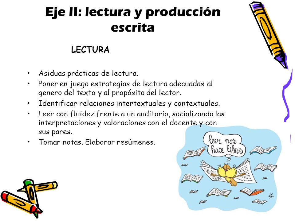 Eje II: lectura y producción escrita
