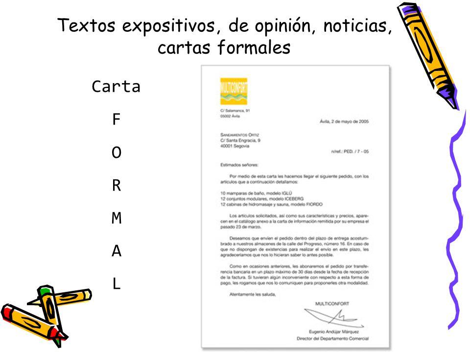 Textos expositivos, de opinión, noticias, cartas formales