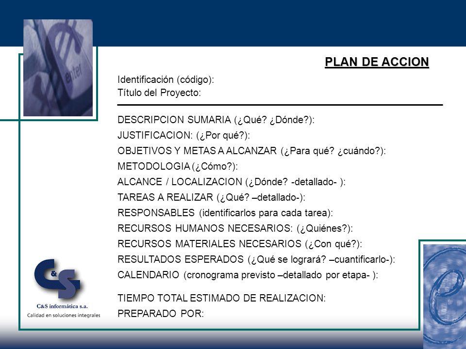 PLAN DE ACCION Identificación (código): Título del Proyecto: