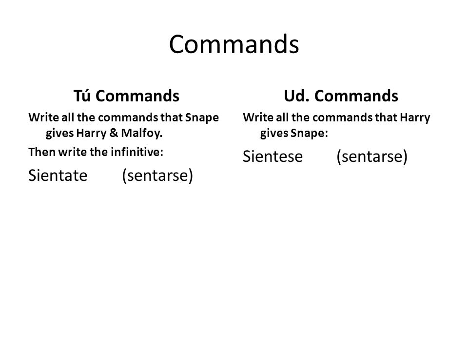 Commands Tú Commands Sientate (sentarse) Ud. Commands