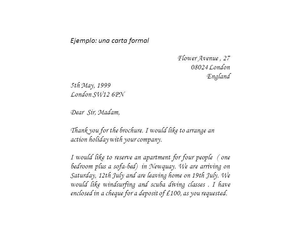 Ejemplo: una carta formal