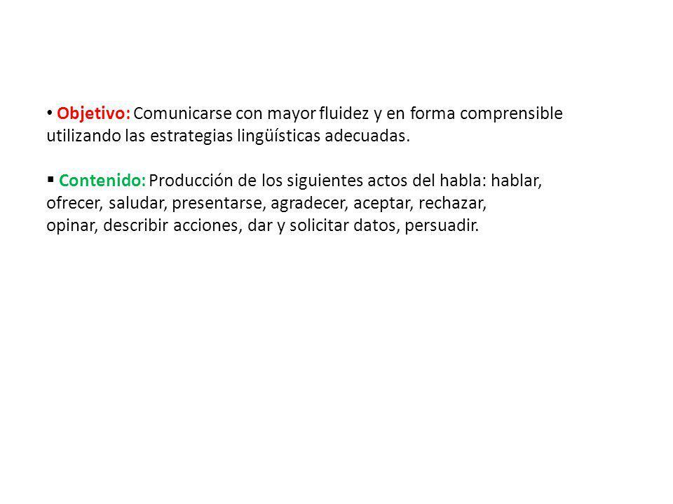 Objetivo: Comunicarse con mayor fluidez y en forma comprensible utilizando las estrategias lingüísticas adecuadas.