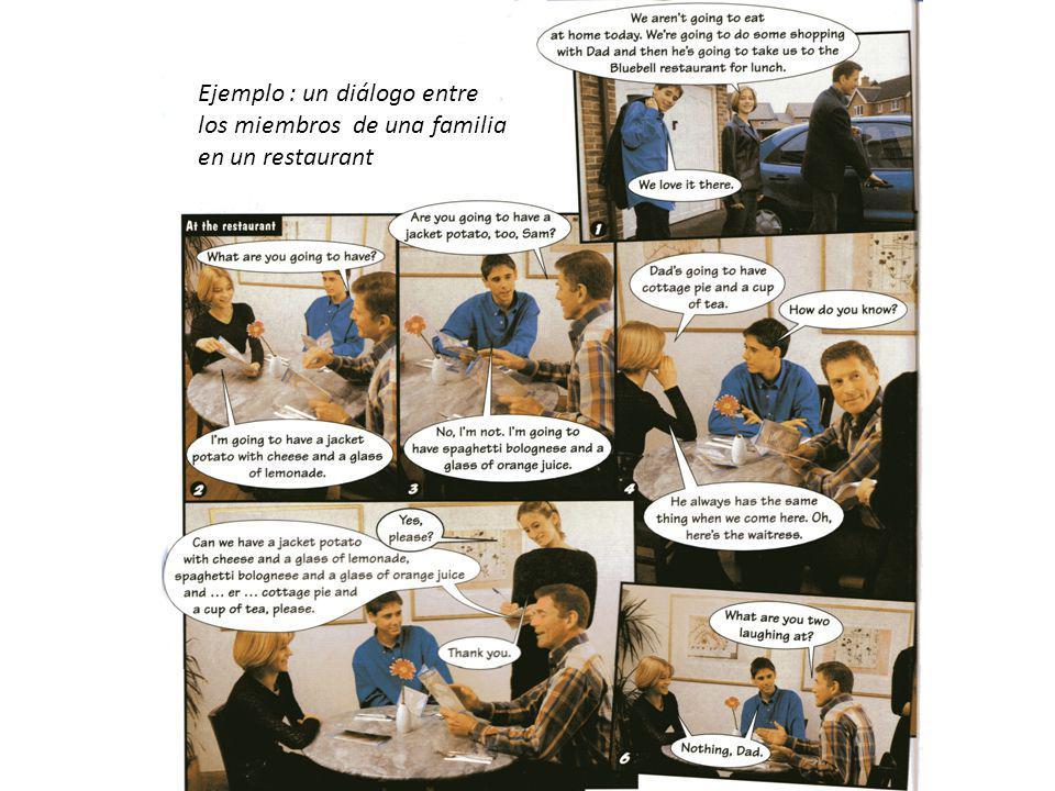 Ejemplo : un diálogo entre los miembros de una familia en un restaurant