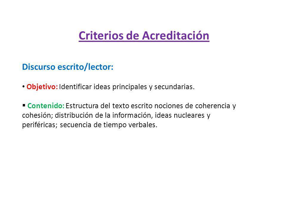 Criterios de Acreditación