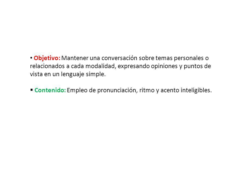 Objetivo: Mantener una conversación sobre temas personales o relacionados a cada modalidad, expresando opiniones y puntos de vista en un lenguaje simple.