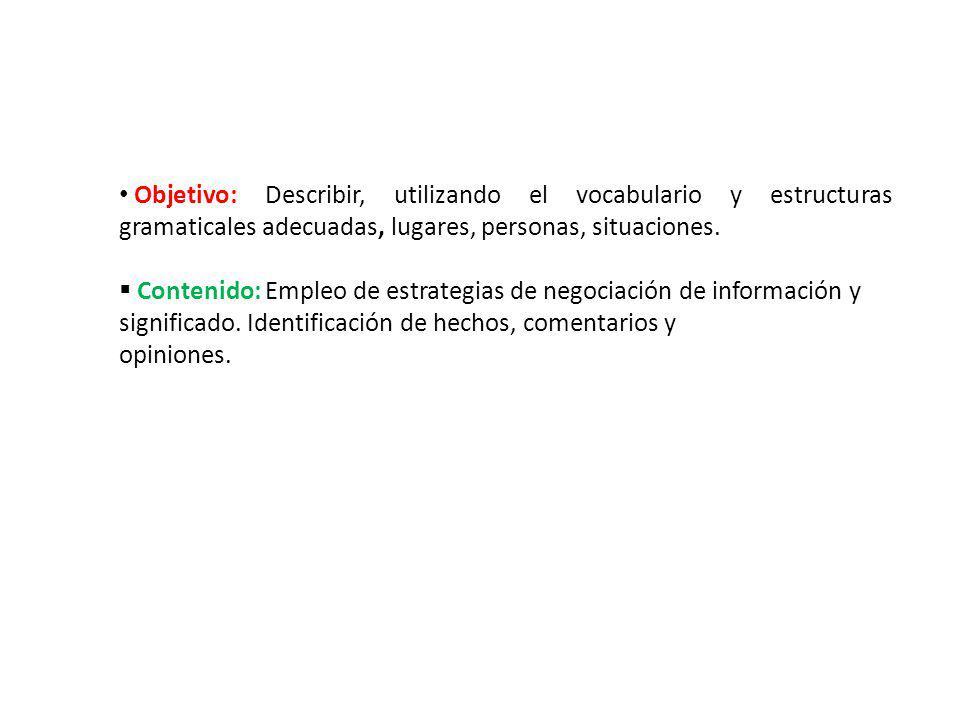 Objetivo: Describir, utilizando el vocabulario y estructuras gramaticales adecuadas, lugares, personas, situaciones.