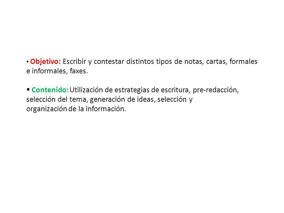 Contenido: Utilización de estrategias de escritura, pre-redacción,