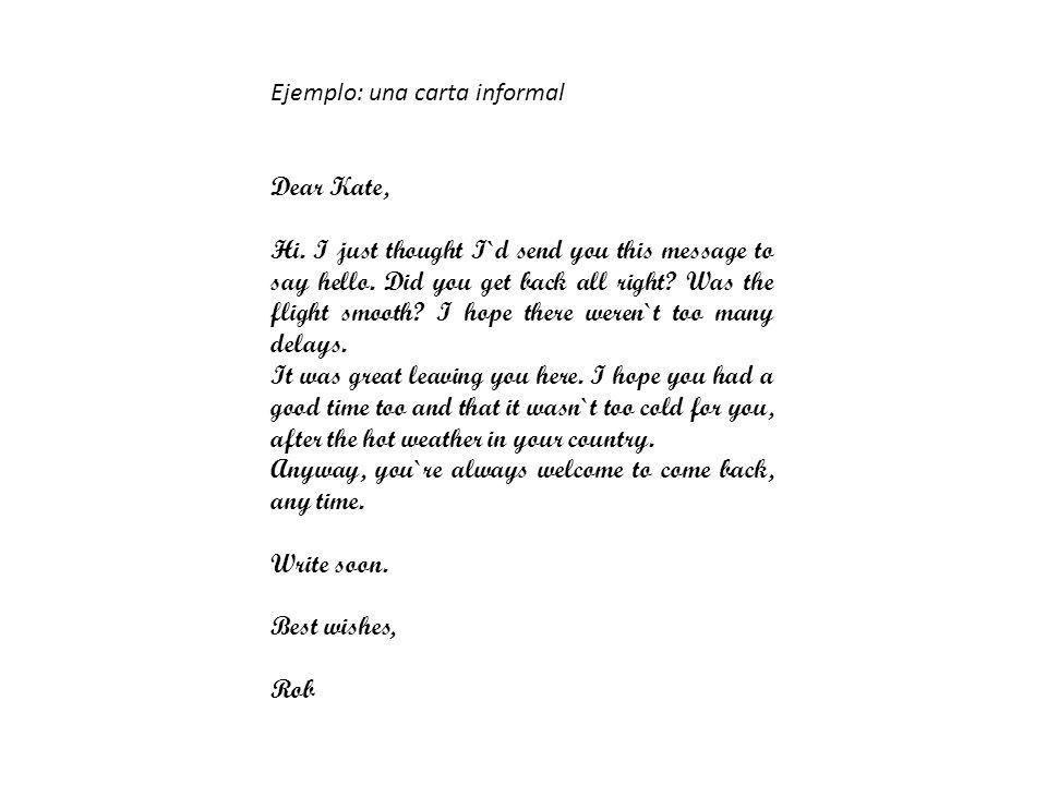 Ejemplo: una carta informal