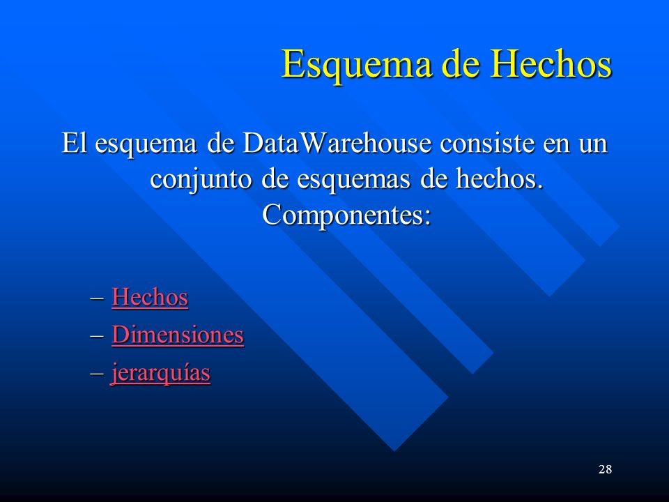 Esquema de Hechos El esquema de DataWarehouse consiste en un conjunto de esquemas de hechos. Componentes: