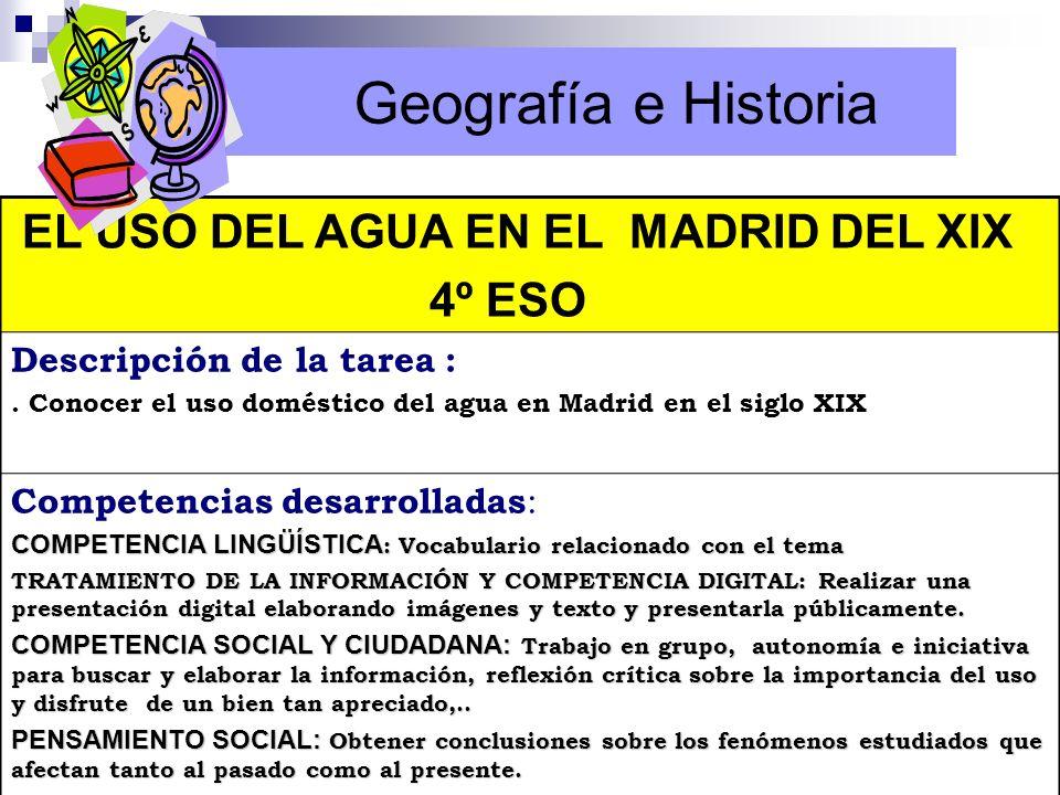Geografía e Historia 4º ESO EL USO DEL AGUA EN EL MADRID DEL XIX