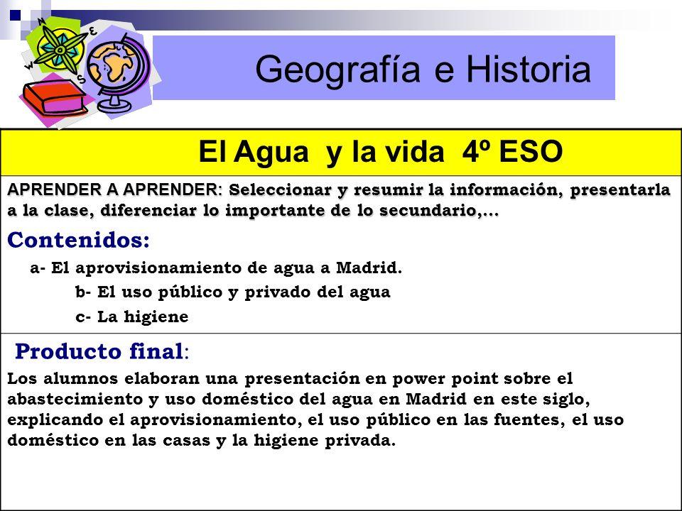 Geografía e Historia El Agua y la vida 4º ESO Contenidos: