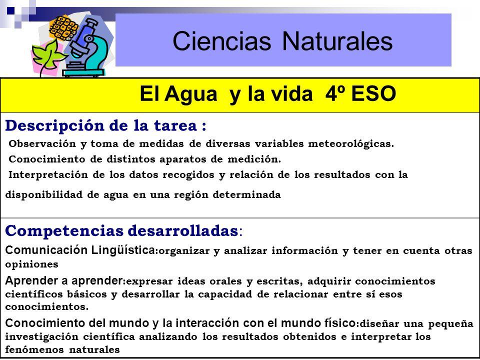Ciencias Naturales El Agua y la vida 4º ESO Descripción de la tarea :