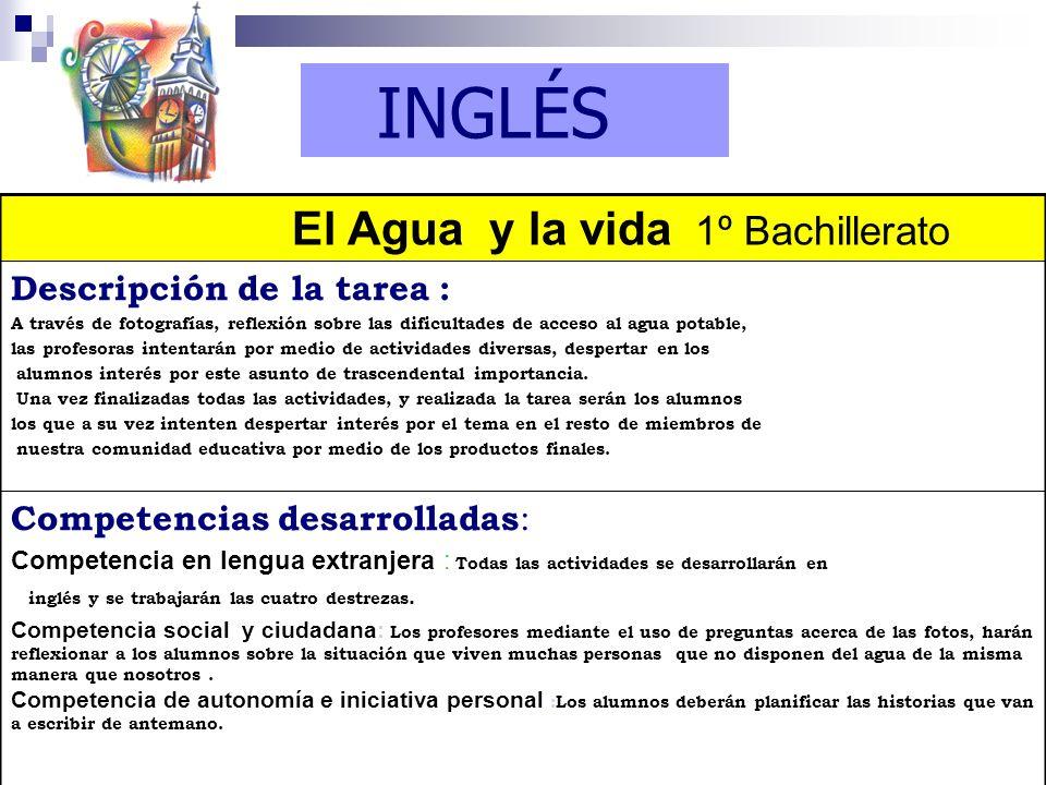 INGLÉS El Agua y la vida 1º Bachillerato Descripción de la tarea :