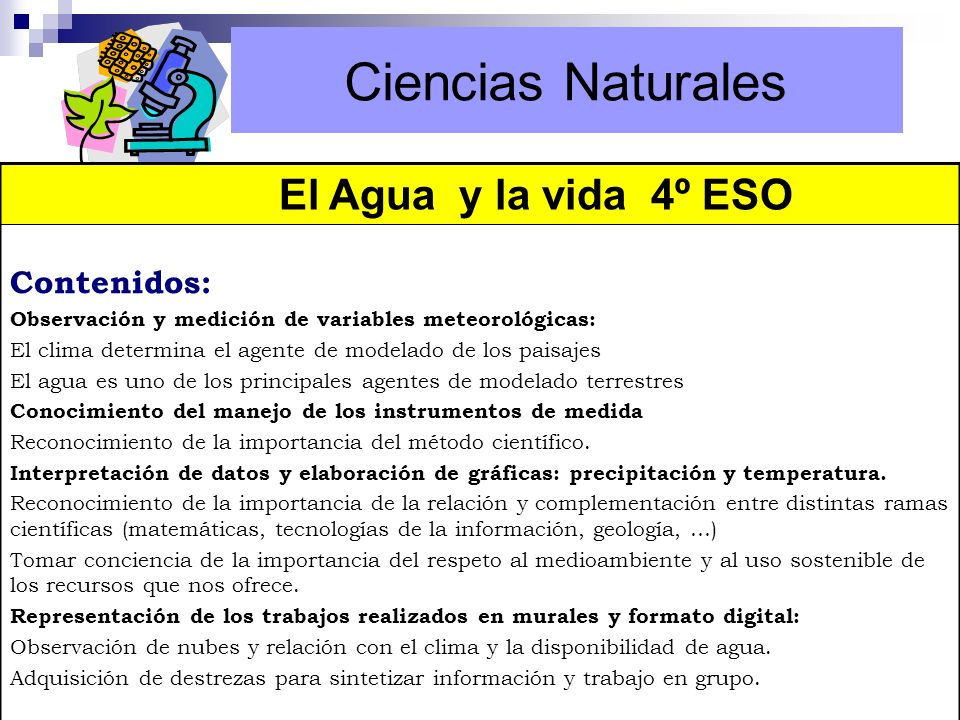 Ciencias Naturales Ciencias Naturales El Agua y la vida 4º ESO