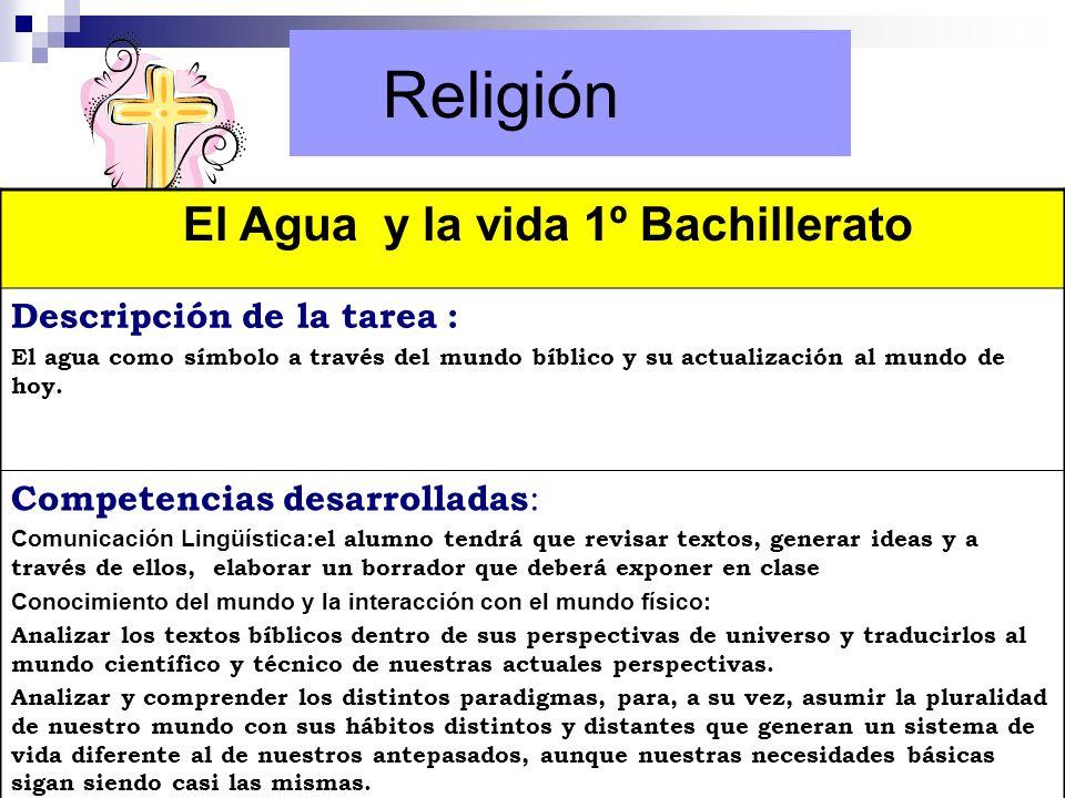 Religión El Agua y la vida 1º Bachillerato Descripción de la tarea :