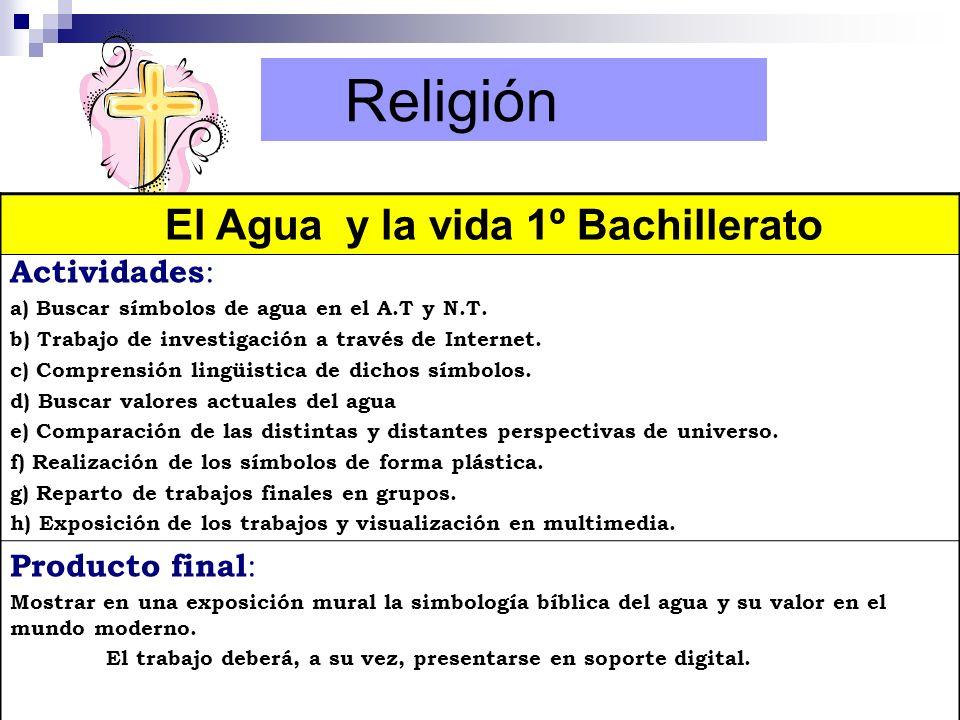 Religión El Agua y la vida 1º Bachillerato Actividades: