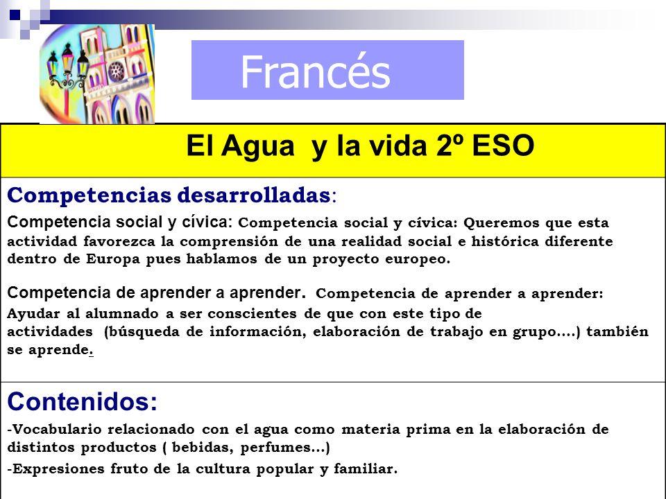 Francés El Agua y la vida 2º ESO Contenidos: