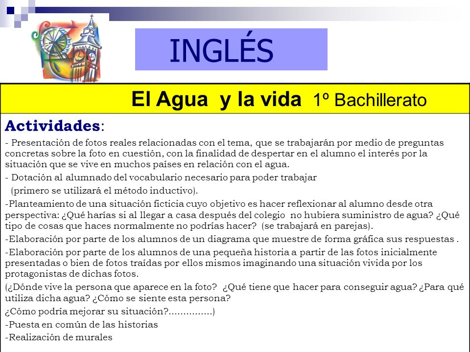 INGLÉS El Agua y la vida 1º Bachillerato Actividades:
