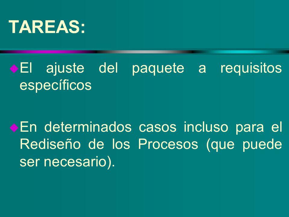 TAREAS: El ajuste del paquete a requisitos específicos