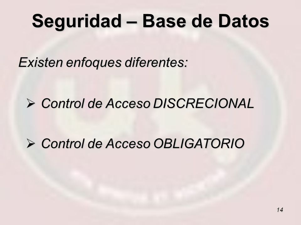 Seguridad – Base de Datos