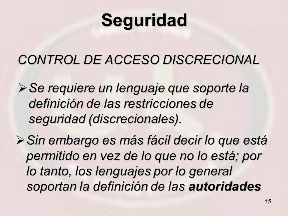Seguridad CONTROL DE ACCESO DISCRECIONAL