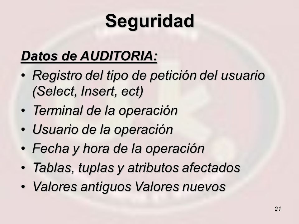 Seguridad Datos de AUDITORIA: