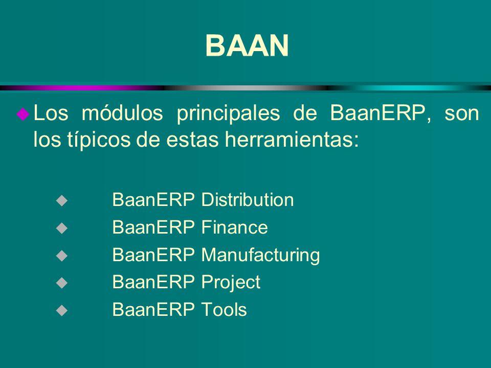 BAAN Los módulos principales de BaanERP, son los típicos de estas herramientas: BaanERP Distribution.