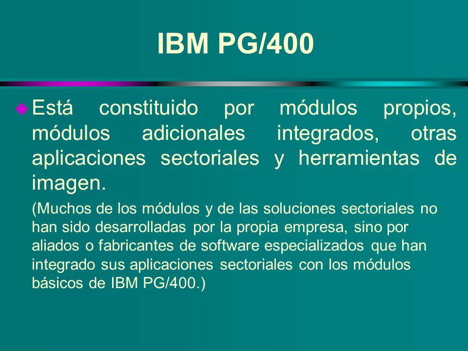 IBM PG/400 Está constituido por módulos propios, módulos adicionales integrados, otras aplicaciones sectoriales y herramientas de imagen.