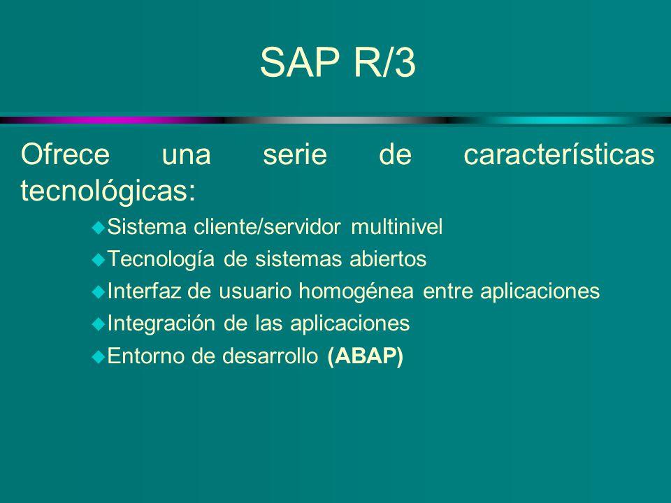 SAP R/3 Ofrece una serie de características tecnológicas: