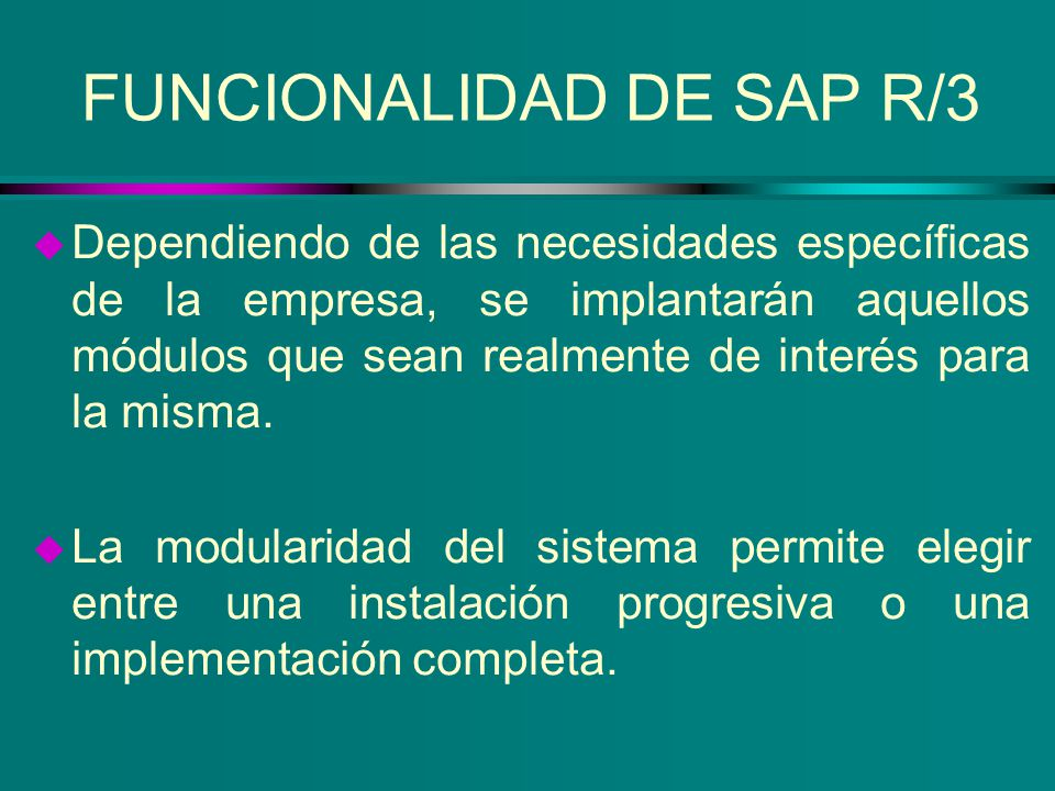 FUNCIONALIDAD DE SAP R/3