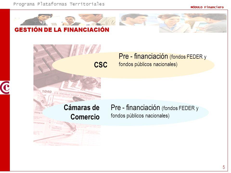 Pre - financiación (fondos FEDER y fondos públicos nacionales)