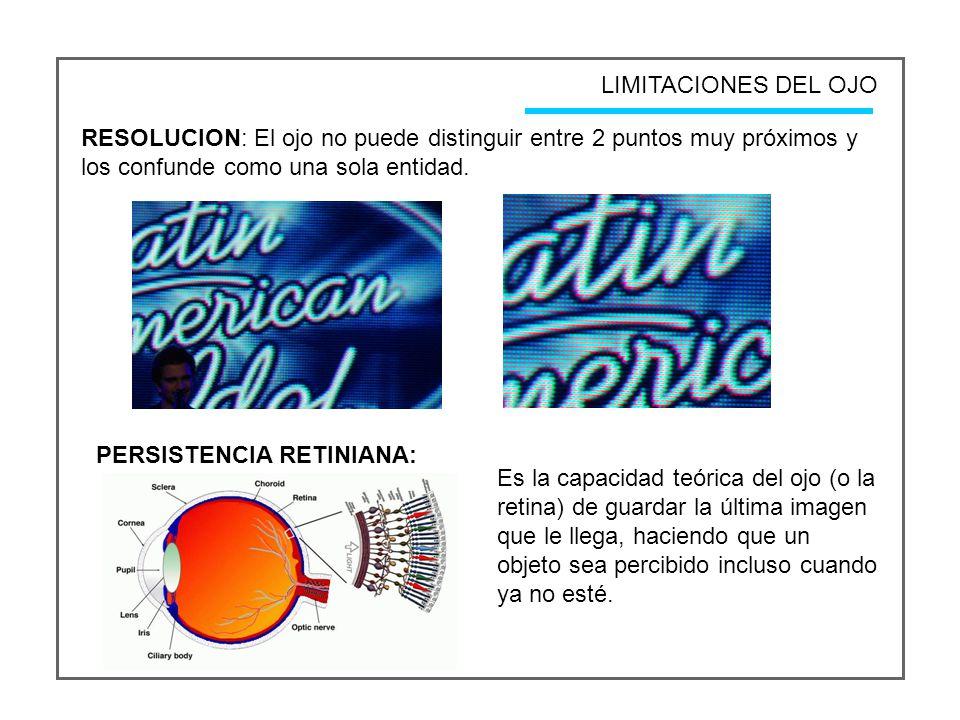 LIMITACIONES DEL OJO RESOLUCION: El ojo no puede distinguir entre 2 puntos muy próximos y los confunde como una sola entidad.