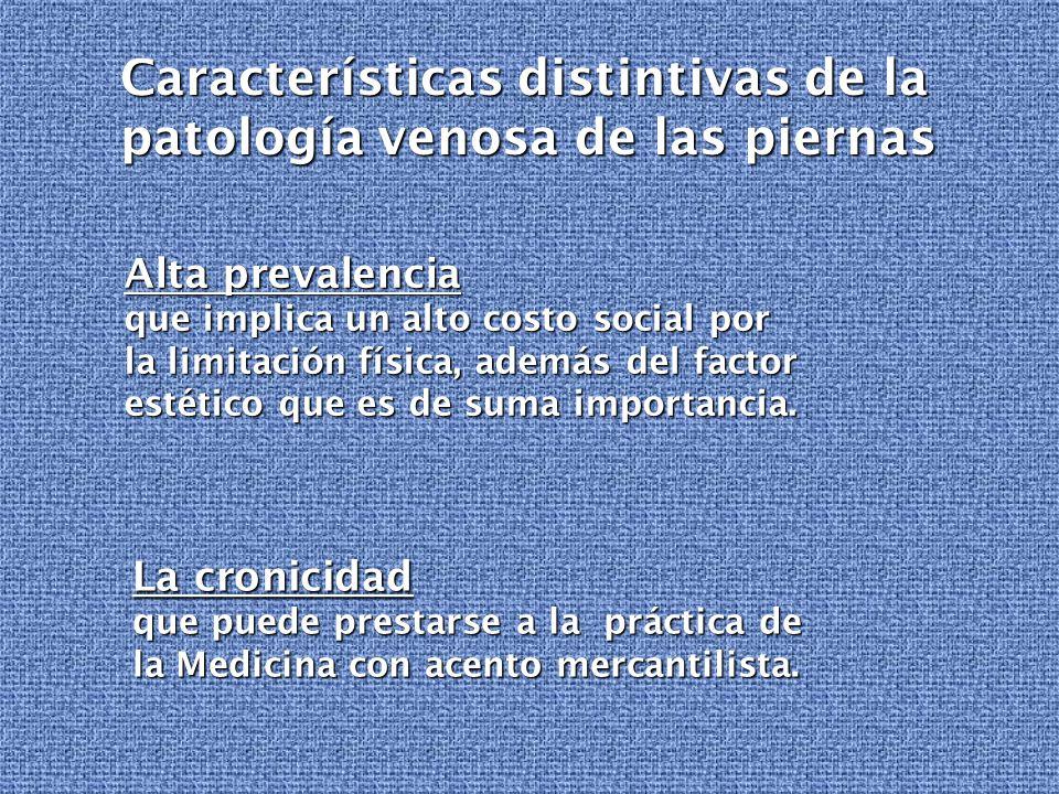 Características distintivas de la patología venosa de las piernas