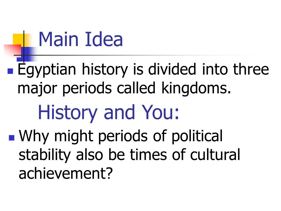 Main Idea History and You:
