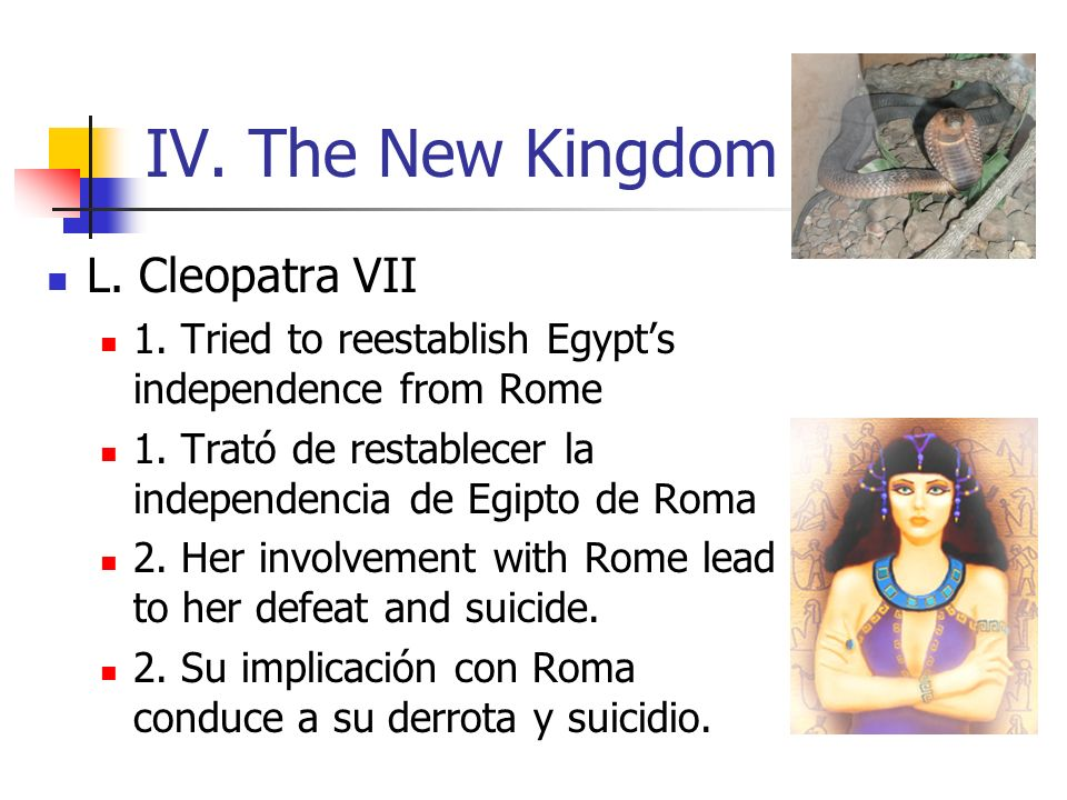IV. The New Kingdom L. Cleopatra VII