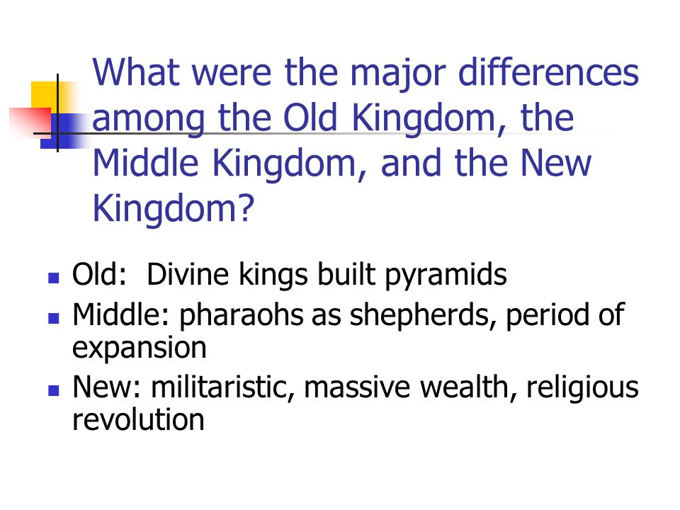 What were the major differences among the Old Kingdom, the Middle Kingdom, and the New Kingdom