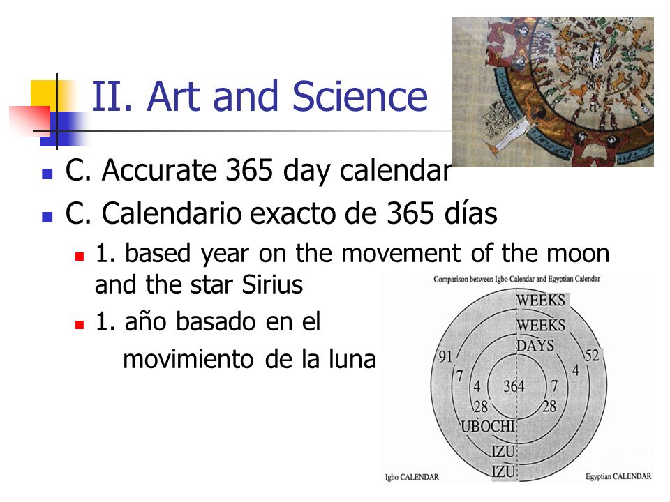 II. Art and Science C. Accurate 365 day calendar