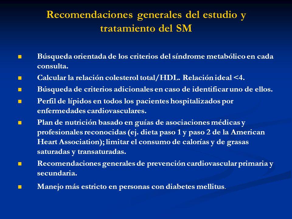 Recomendaciones generales del estudio y tratamiento del SM