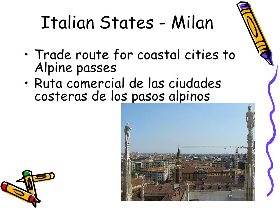 Italian States - Milan Trade route for coastal cities to Alpine passes