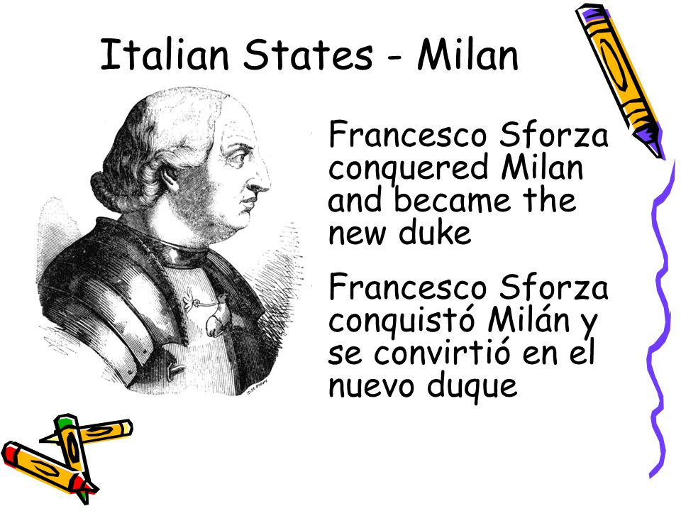 Italian States - Milan Francesco Sforza conquered Milan and became the new duke.