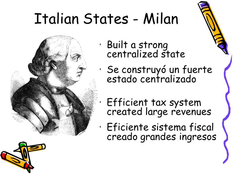 Italian States - Milan Built a strong centralized state